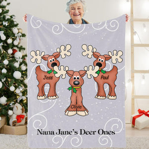 Personalized Christmas Deer Cozy Plush Fleece Blanket with Grand-kids' Names
