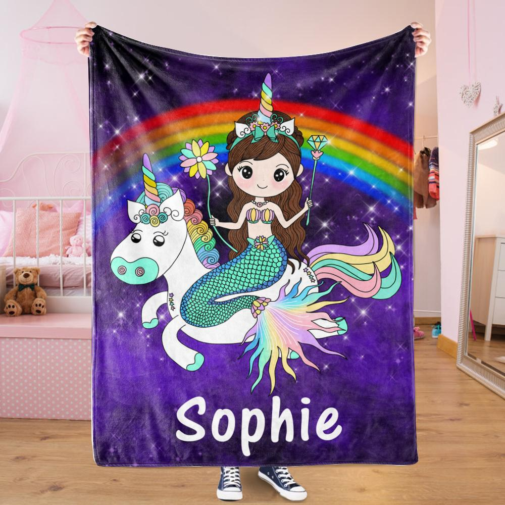 Custom Mermaid & Rainbow Unicorn Cozy Plush Fleece Blanket Purple