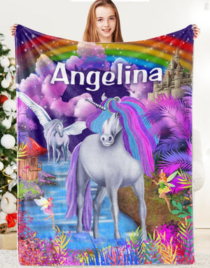 Custom Magical Unicorn Wonderland Premium Fleece Blanket