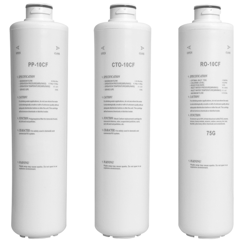 Genuine Water Filters for Hot Water Reverse Osmosis Countertop System 75GPD - 3 Filters