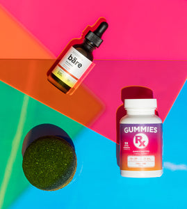 Kush Queen products featured for National CBD Day on a colorful back ground.