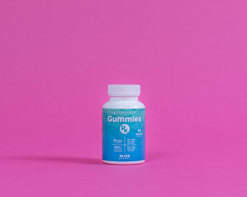 Kush Queen CBG Gummies Rx Bliss shown in it's teal blue bottle against a pink background.