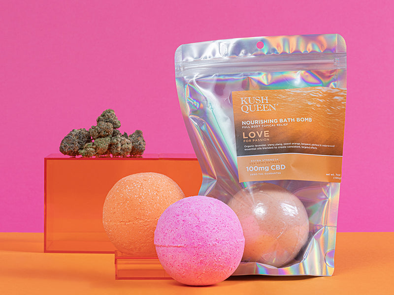 Kush Queen Awaken and Citrus CBD Bath Bombs shown with the main ingredient, cannabis.