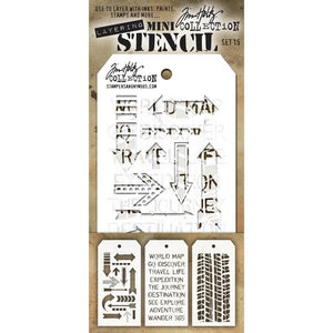 Tim Holtz Mini Layered Stencil Set - MTS Set #15