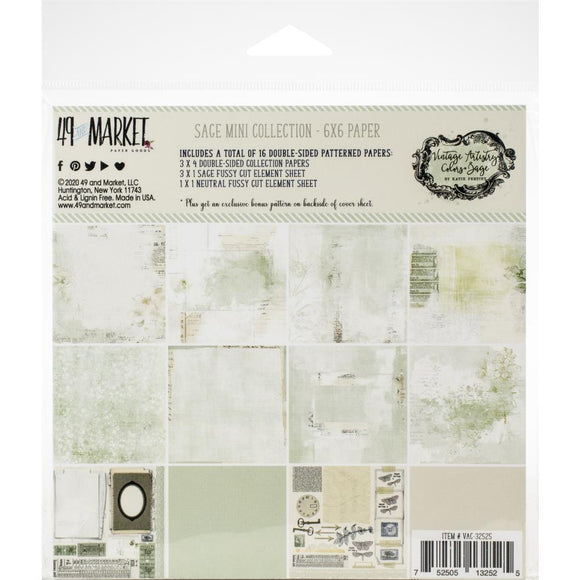 49 And Market - Vintage Artistry Sage 6x6 Paper Pad
