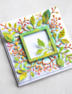 2326 Orchard Leaf Square Frame craft die