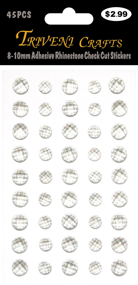 STIK-742 Adhesive Rhinestone Check Cut Stickers - White