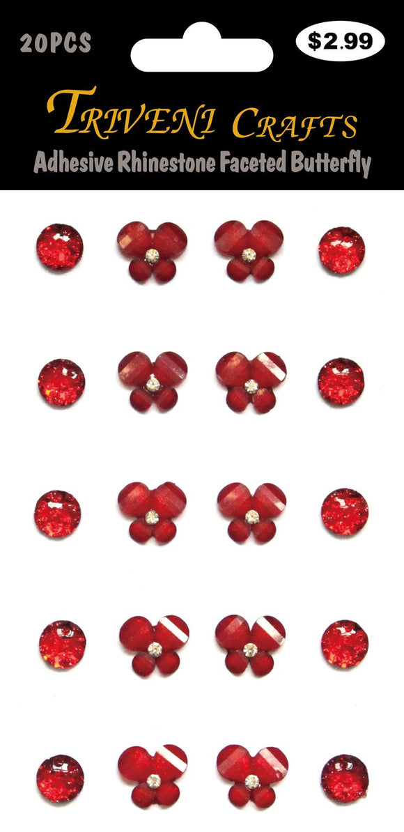STIK-845 Adhesive Rhinestone Faceted Butterfly - Red