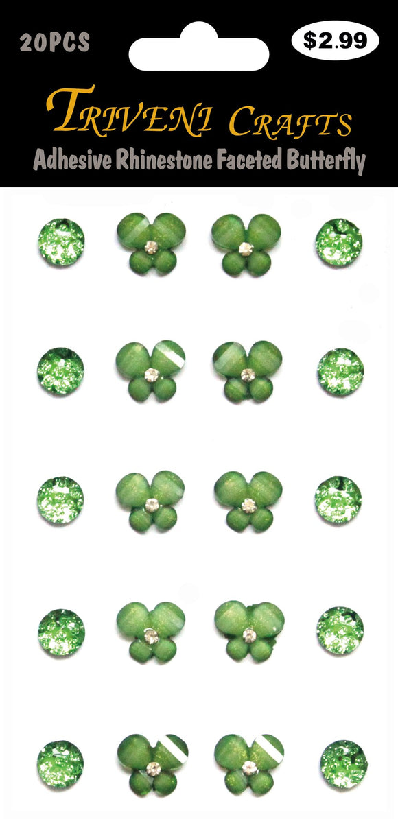 STIK-850 Adhesive Rhinestone Faceted Butterfly - Green