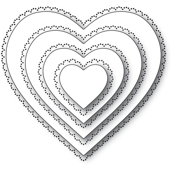 94364 Scallop Pinpoint Loving Heart Cut Out craft die