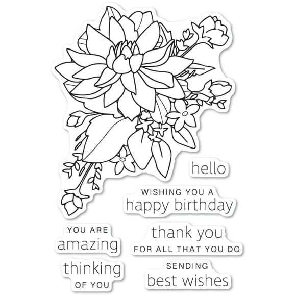 CL483 Peony Bouquet clear stamp set
