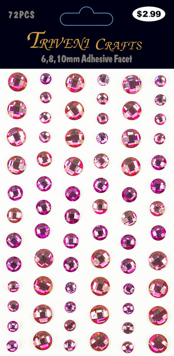 STIK-461 Rhinestone Facet Stickers - 6-10mm - Pink
