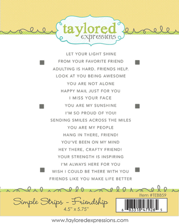 Taylored Expressions - Simple Stripes Friendship Rubber Stamp