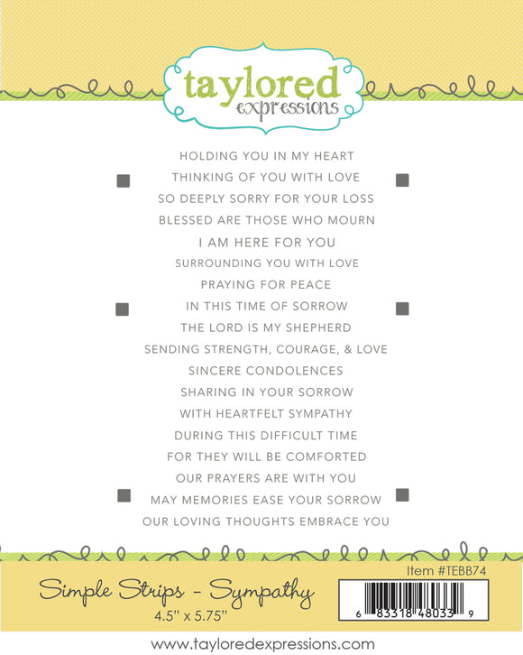 Taylored Expressions - Simple Stripes Sympathy Rubber Stamp