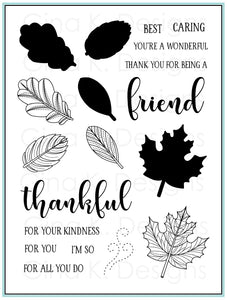 Stitched Leaves Clear Stamp