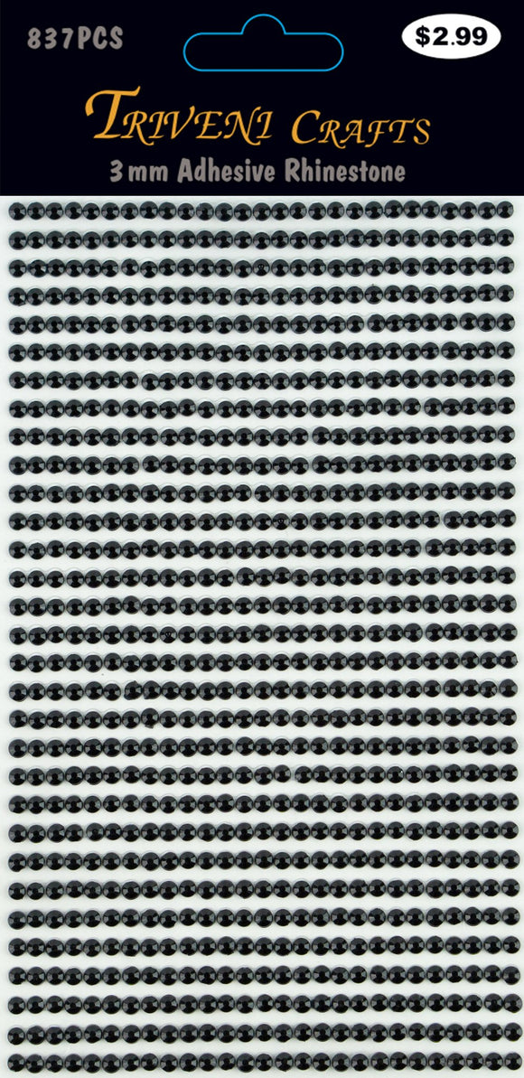 STIK-192 Rhinestone Dot Stickers - 3mm - Jet Black