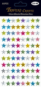 STIK-361 Rhinestone Star Stickers - 10mm - Multi