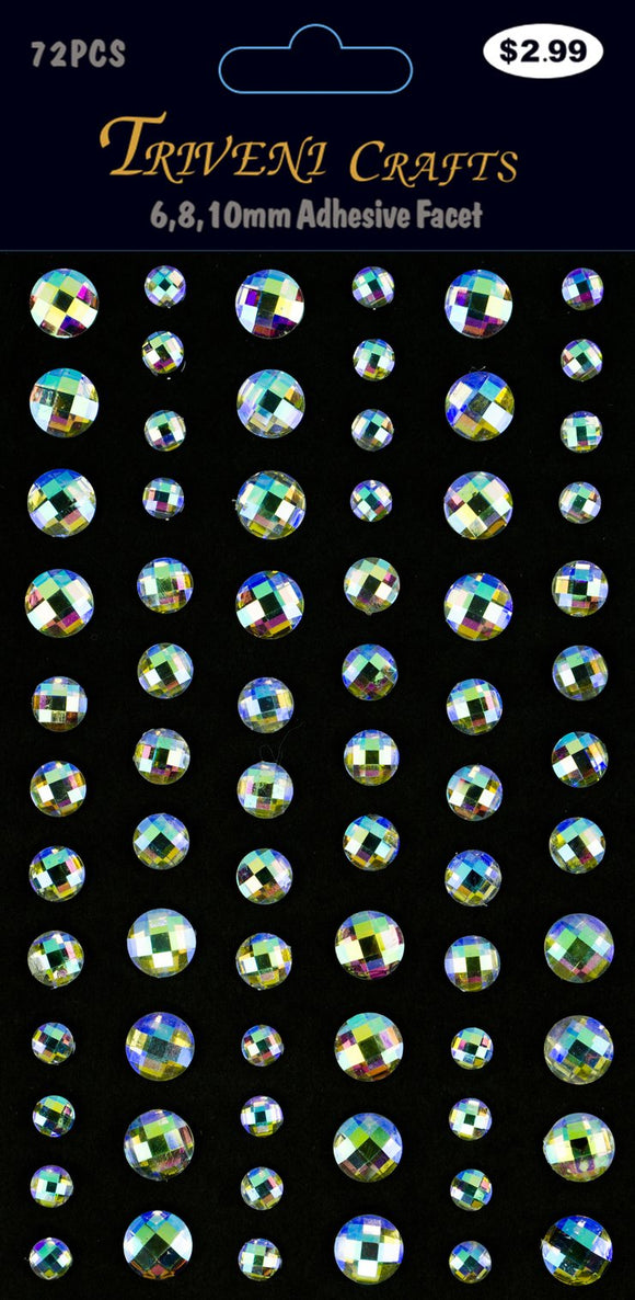 STIK-451 Rhinestone Facet Stickers - 6-10mm - Iridescence
