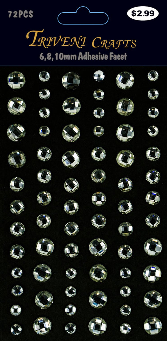 STIK-452 Rhinestone Facet Stickers - 6-10mm - Clear