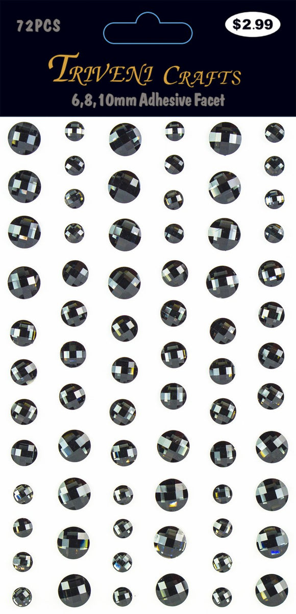 STIK-458 Rhinestone Facet Stickers - 6-10mm - Black