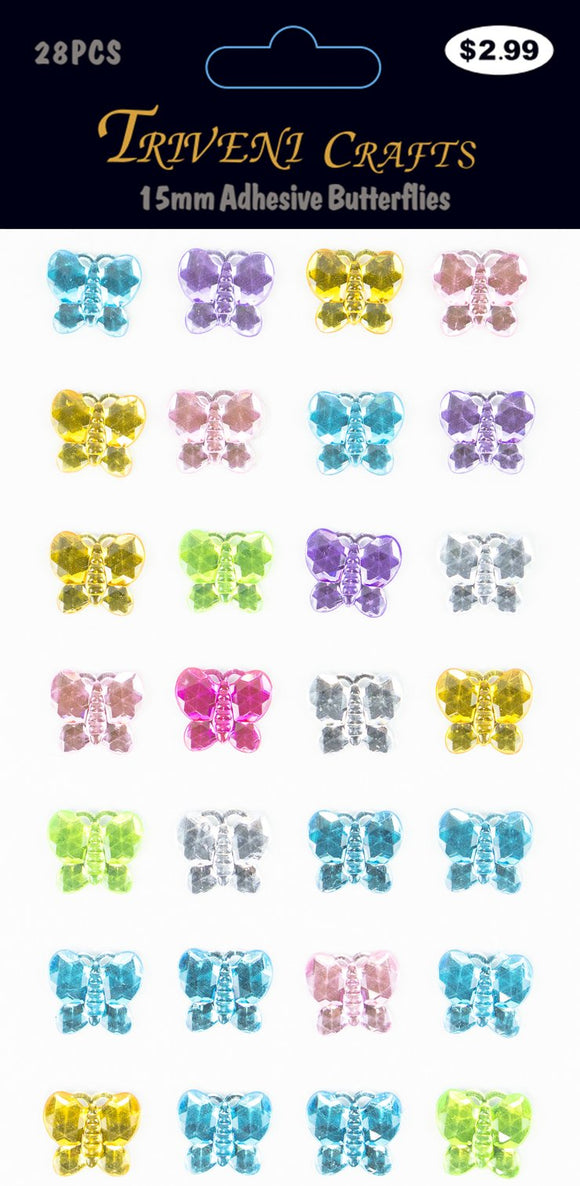 STIK-502 Rhinestone Butterfly Stickers - 15mm - Multi