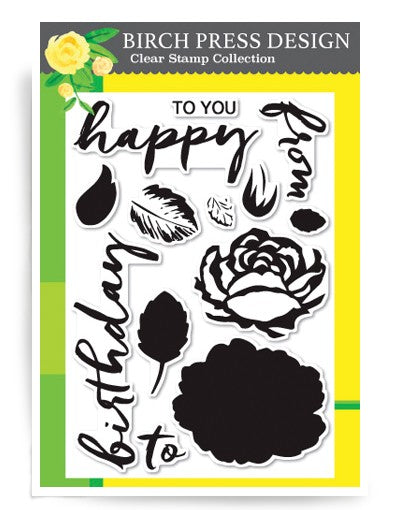 CL8114 Brushed Birthday Greetings clear stamp set