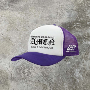 Amen Trucker Hat - Purple/White