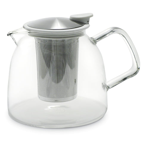 Bell Glass Teapot with Basket Infuser (43oz.)    2 Colors