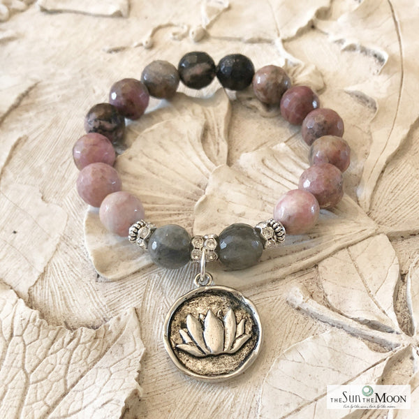 Lotus Fertility Rhodonite Bracelet