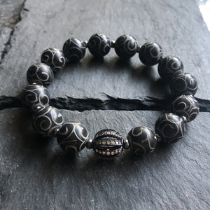 Carved Black Jade Bracelet