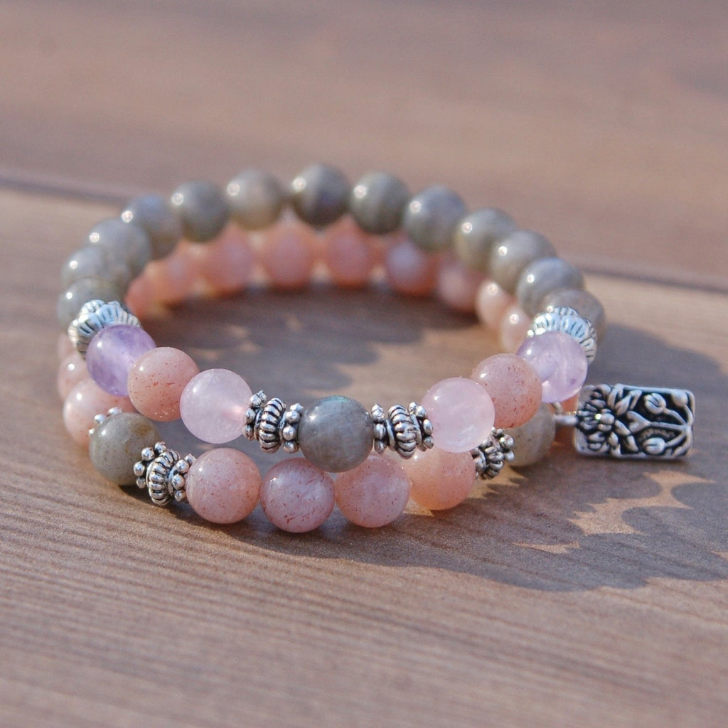 Labradorite, Rose Quartz, Moonstone and Amethyst fertility bracelet