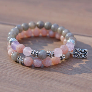Labradorite, Rose Quartz, Moonstone and Amethyst fertility bracelet (386071952)