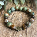 Green Opal, Tigers Eye, Smoky Quartz