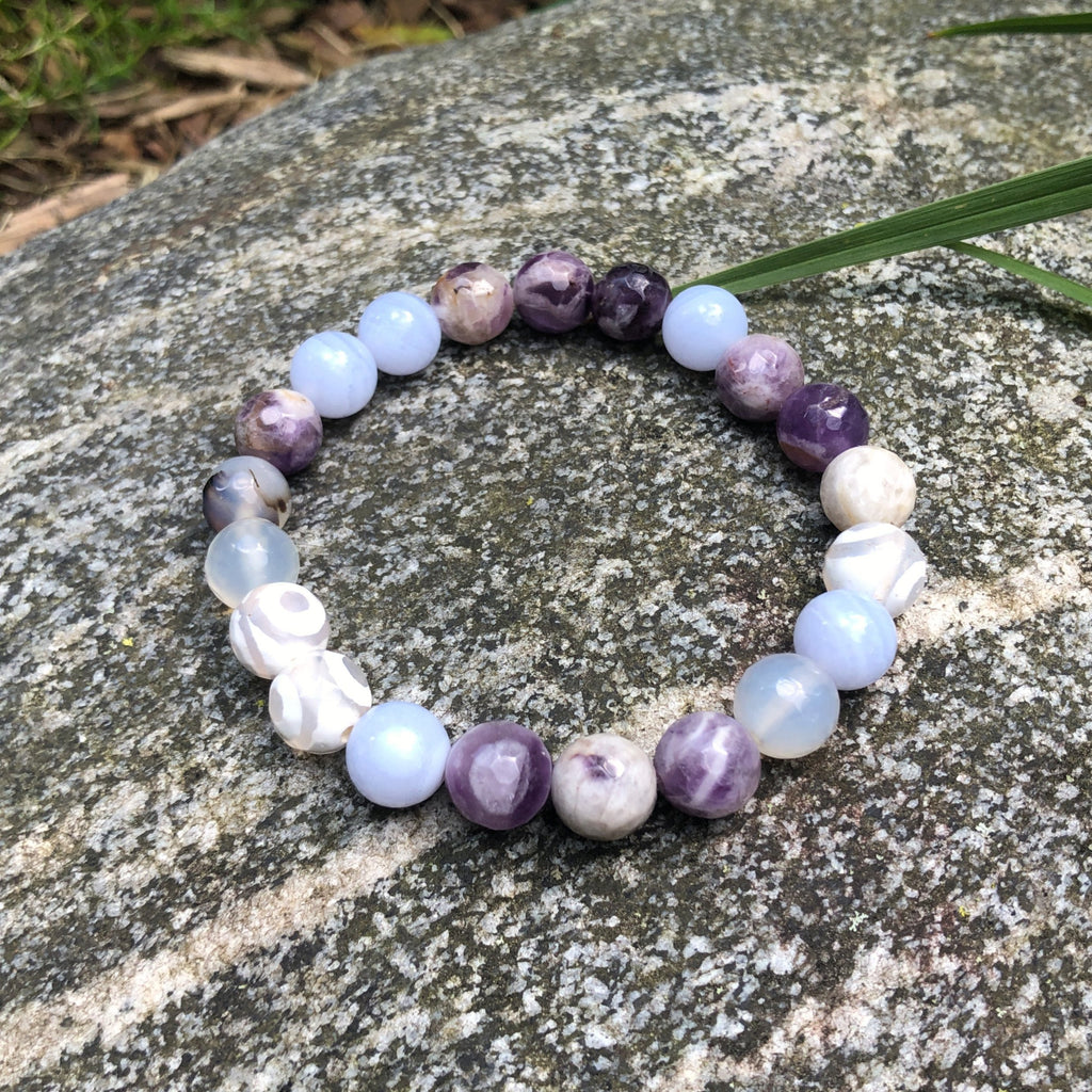 In My Happy Place Amethyst and Agate Spiritual Healing Bracelet