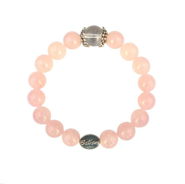 Believe Rose Quartz Stretch Bracelet