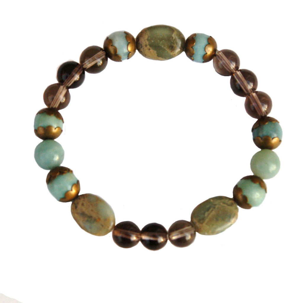 Variscite, Smoky Quartz and Amazonite Bracelet