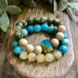 Beautiful citrine, chrysocolla, rhyolite bracelets