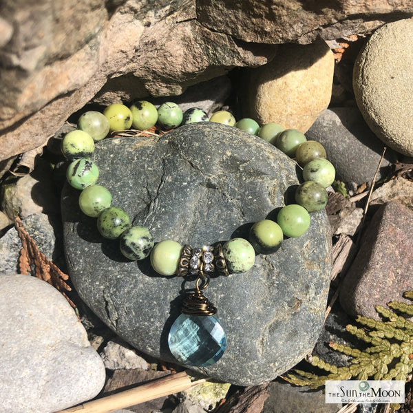 Chrysoprase and Blue Topaz Bracelet