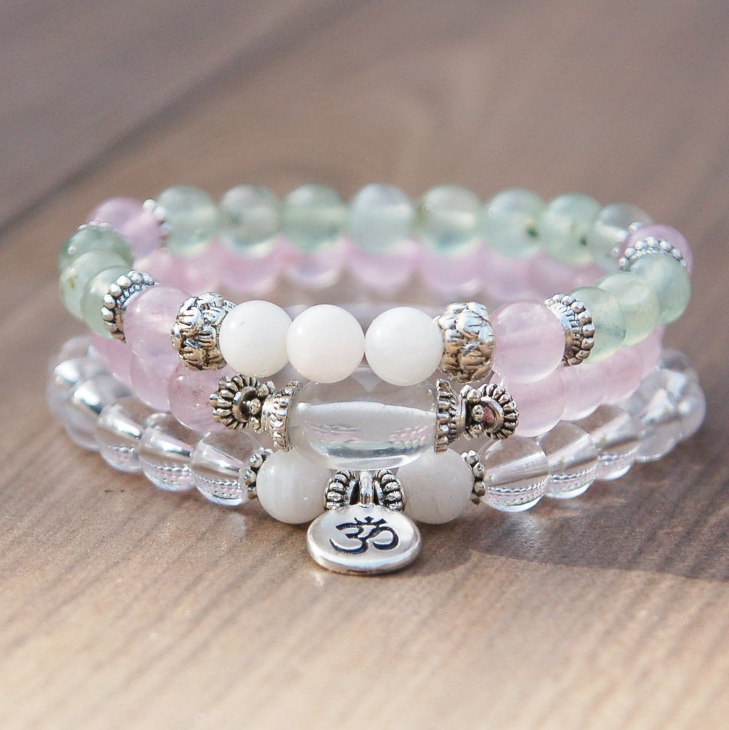 Garnet, Rose Quartz, crystal quartz, moonstone meditation fertility bracelets