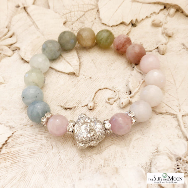 Morganite 7 chakra bracelet laws of attraction