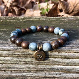 Copper Hematite, Hawks Eye and Bronzite Chakra Bracelet