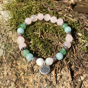 Moonstone, Rose Quartz, Aventurine Lotus Fertility Bracelet