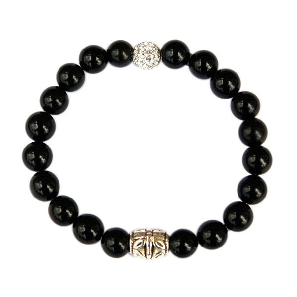 Black Onyx Pave Fertility Stretch Bracelet