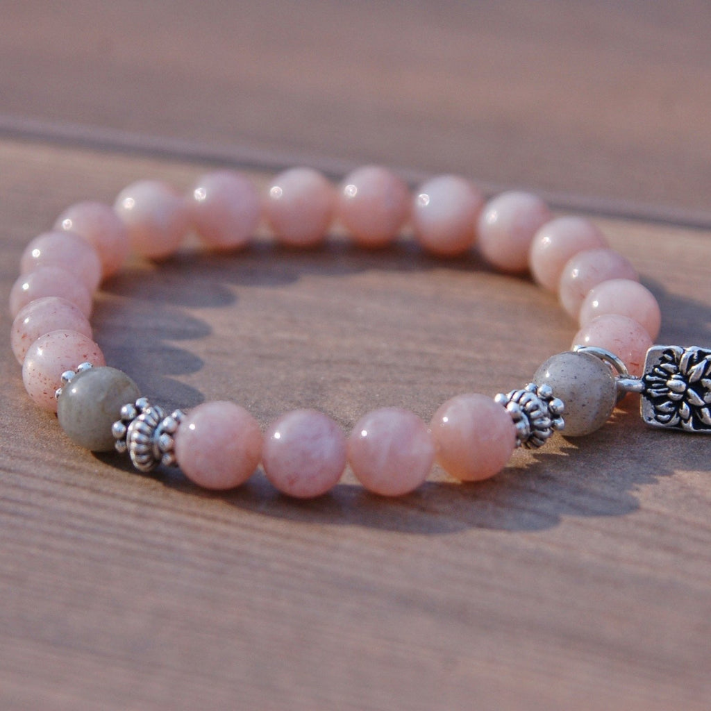 Moonstone and Lotus Flower Fertility Bracelet
