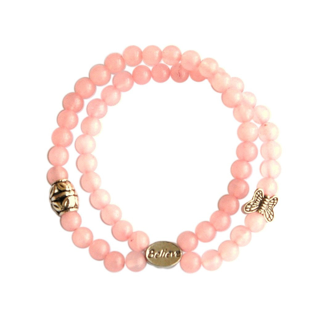 Rose Quartz Fertility Charms Bracelet