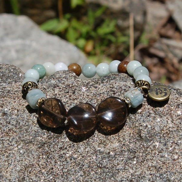 Mindful Calm Affirmation Bracelet Smoky Quartz Aquamarine