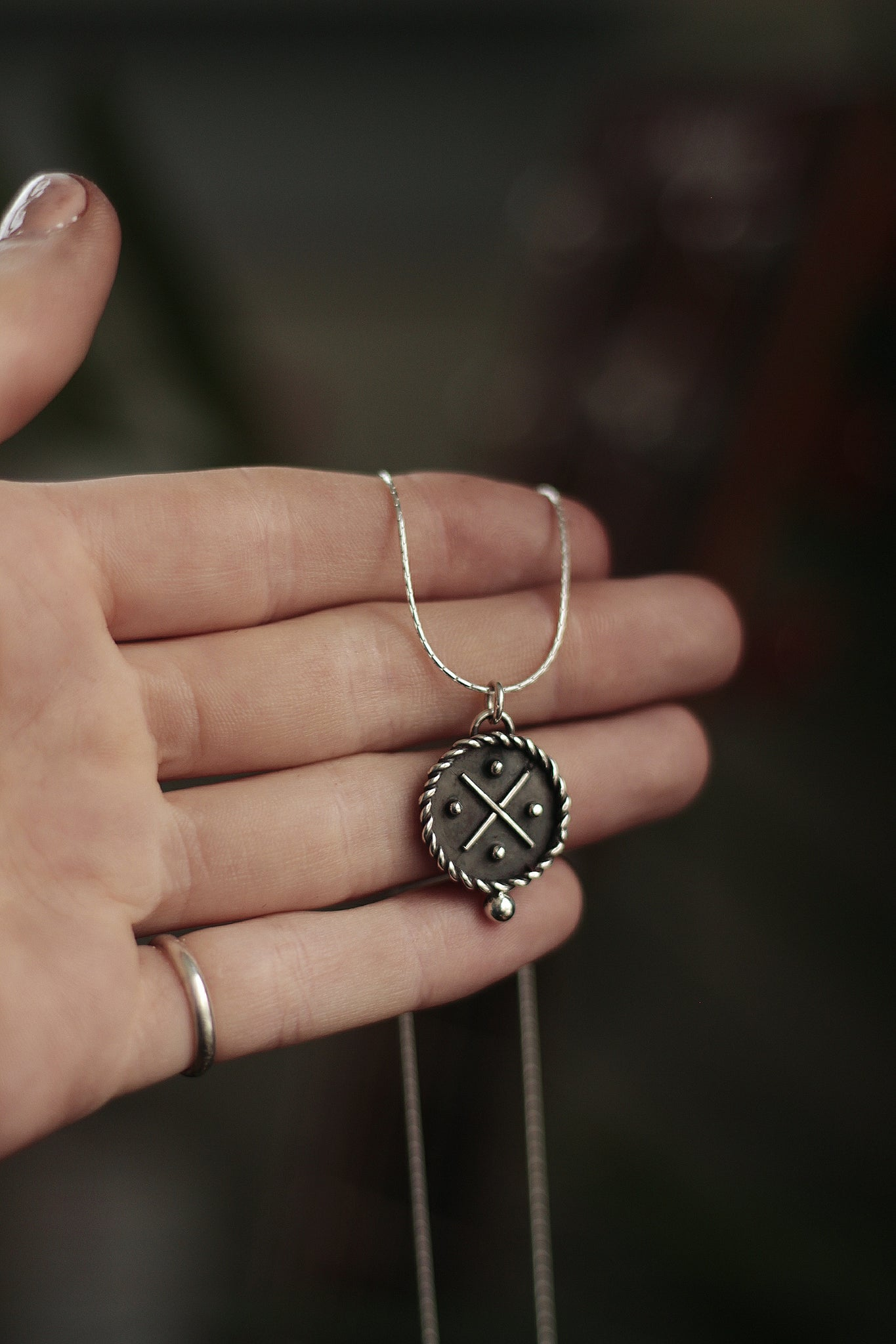 Spinning Compass Medallion Pendant
