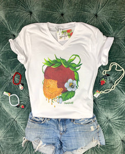 Art Tee ~ Honey Berry V Neck