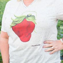 Load image into Gallery viewer, Art Tee ~ Marbled V-Neck Sassy Strawberry