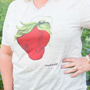 Art Tee ~ Marbled V-Neck Sassy Strawberry